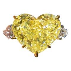 GIA 2.80 Carat Intense Yellow Heart Shape Diamond Ring