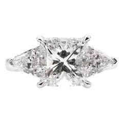 GIA 2.82 Carat Estate Vintage Cushion Diamond Three-Stone Wedding Ring