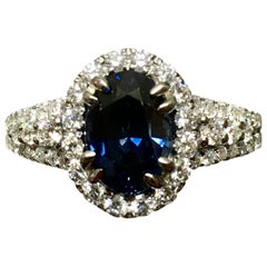 GIA 2.82 Carat Sapphire Diamond Halo Engagement Ring 18 Karat White Gold