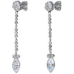 GIA 2.84 Carat Marquise and Round Diamond Drop Dangling 14k White Gold Earrings