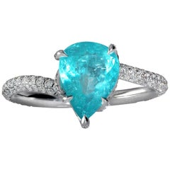 "GIA 2.84ct Natural Paraiba Tourmaline Pear Shape Diamond Platinum ""Dalinda"" Ring"