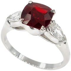 GIA 2.85ct Natural Burma No-Heat Red Spinel and Diamond Platinum 3-Stone Ring