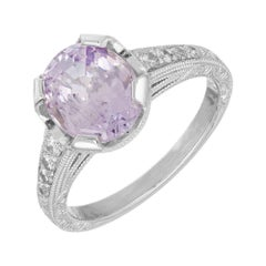 GIA 2.86 Carat Purple Natural Sapphire Diamond Platinum Engagement Ring