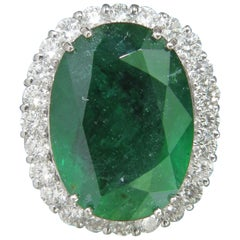 GIA 28.81 Carat Natural Emerald Diamond Ring Huge A+ Halo Huge