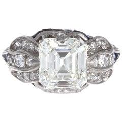 Art Deco GIA 2.91 Carat K VS1 Emerald Cut Diamond Platinum Engagement Ring