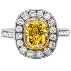 GIA 2.98 Carat Fancy Intense Yellow Diamond Engagement Ring
