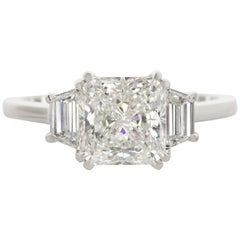 I FLAWLESS E Color GIA Certified 2 Carat Radiant Cut Diamond Platinum Ring