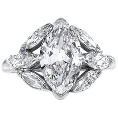 GIA 3.00 Carat Old Oval Moval Cut Diamond Platinum Antique Vintage Ring