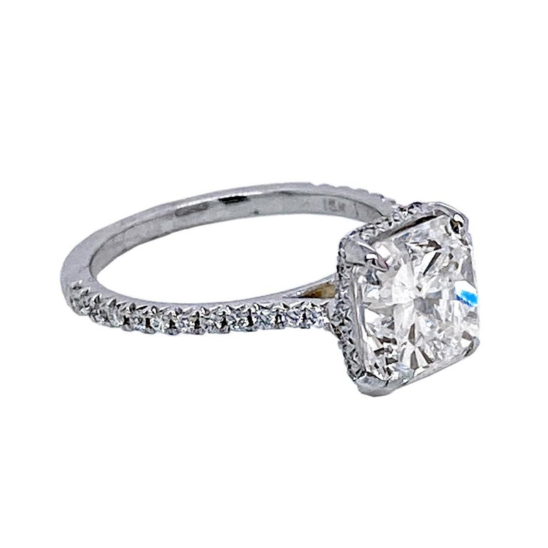 Radiant Cut GIA 3.00 Ct F/SI1 Radiant Diamond French Pave Set Engagement Ring with Hidd Halo For Sale