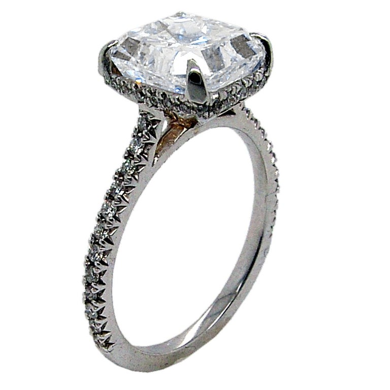 GIA 3.00 Ct F/SI1 Radiant Diamond French Pave Set Engagement Ring with Hidd Halo In New Condition For Sale In Los Angeles, CA