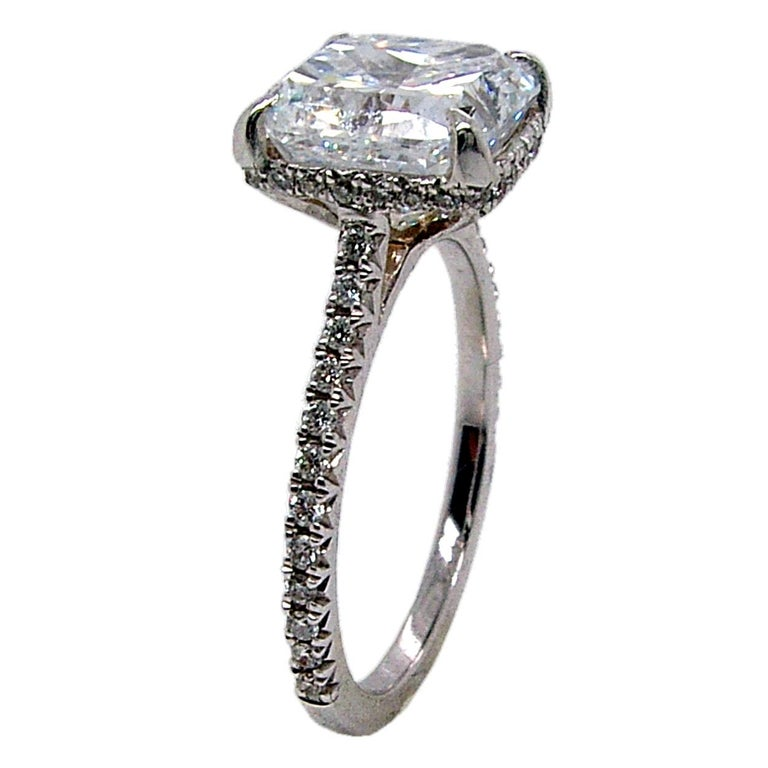 Women's GIA 3.00 Ct F/SI1 Radiant Diamond French Pave Set Engagement Ring with Hidd Halo For Sale
