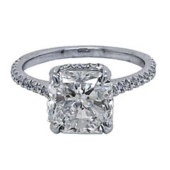 GIA 3.00 Ct F/SI1 Radiant Diamond French Pave Set Engagement Ring with Hidd Halo