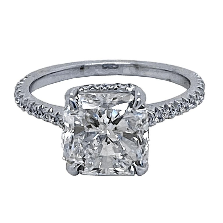 GIA 3.00 Ct F/SI1 Radiant Diamond French Pave Set Engagement Ring with Hidd Halo For Sale
