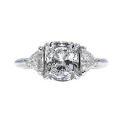 GIA 3.01 Carat Cushion Cut Diamond 3-Stone Engagement Platinum Ring