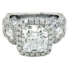 GIA 3.01 Ct I/VVS2 Cushion Diamond 18K Pave/Bezel Set Engagement Ring with Halo