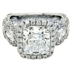 GIA 3.01 Ct I/VVS2 Cushion Diamond 18K Pave/Bezel Set Engagement Ring with Halo