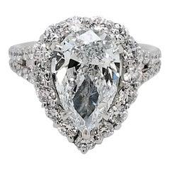 GIA 3.01 Ct G/VS2 Pear Shape Diamond 18K Split Shank Engagement Ring with Halo