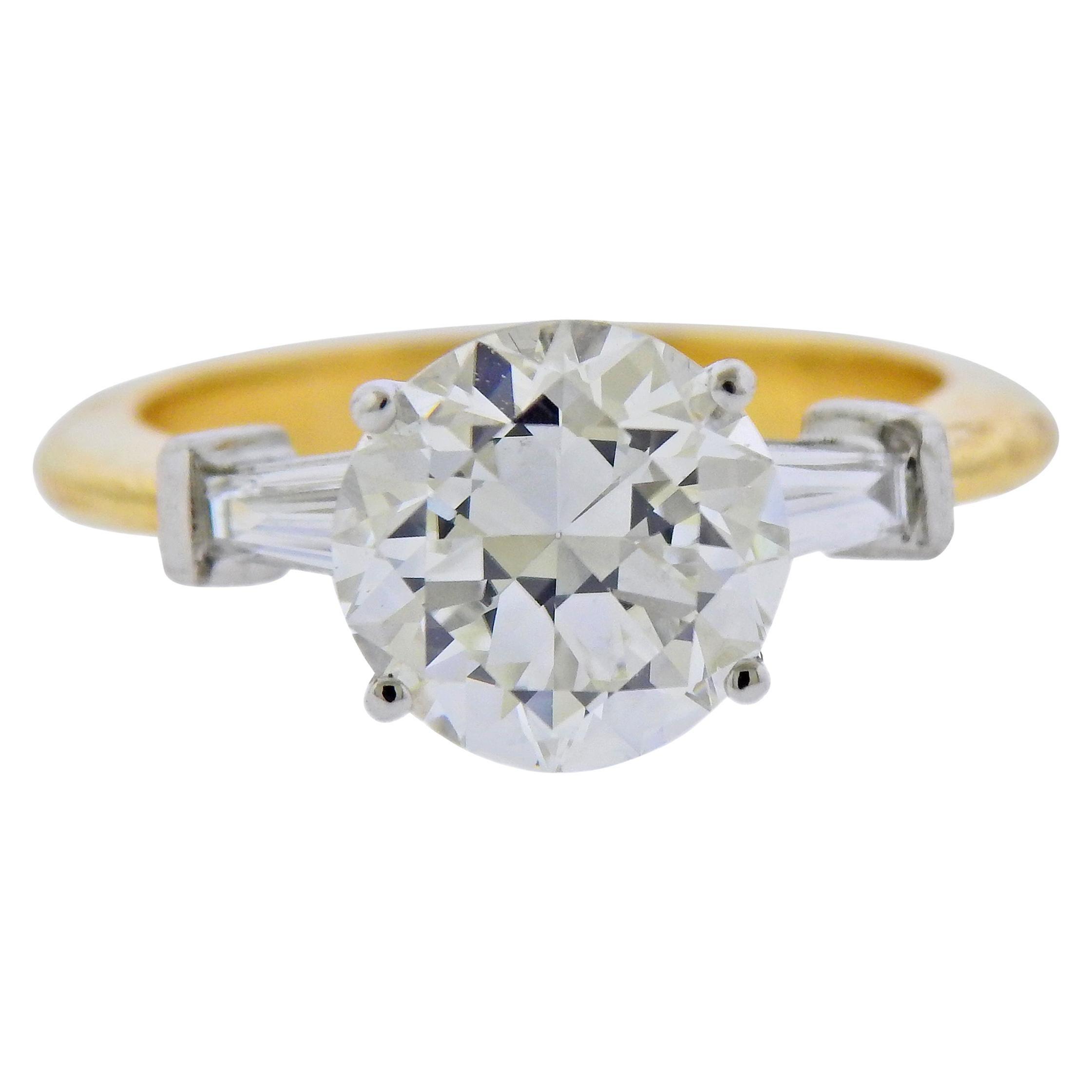 GIA 3.03 Carat I VS1 Diamond Tiffany & Co. Platinum Gold Engagement Ring