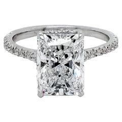 GIA 3.04 Ct D/SI2 Radiant Diamond French Pave Set Engagement Ring with Side Halo