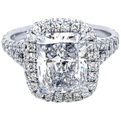 GIA 3.04 Carat G/SI2 Radiant Diamond 18k Pave Set Split Shank Ring with Halo