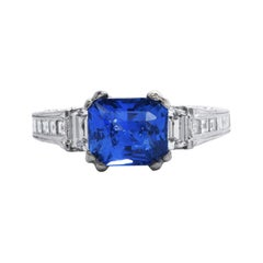 GIA 3.06 Carat Ceylon Sapphire Diamond 18k Gold Engagement Ring