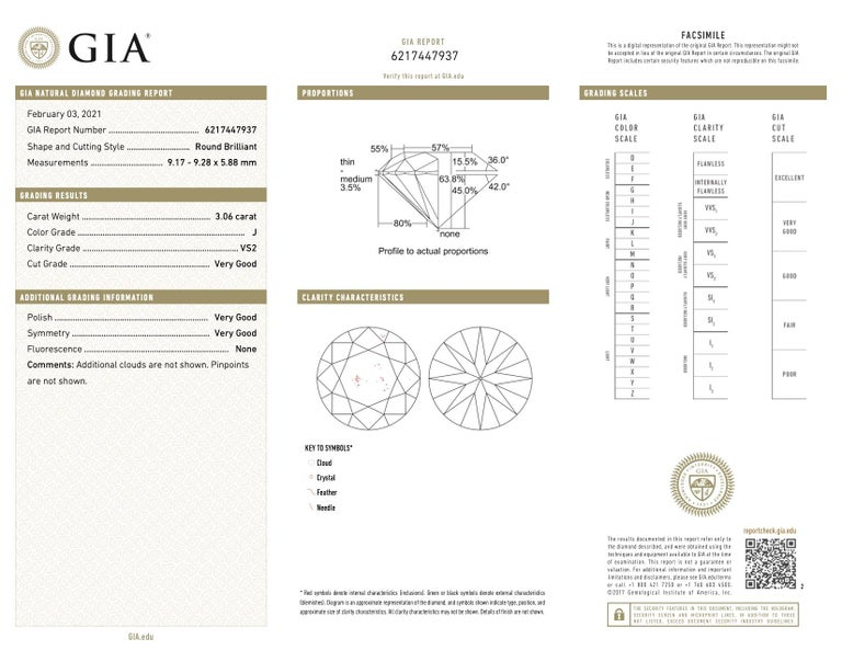 Women's GIA 3.06 Carat Round Brilliant Cut Diamond 18 Karat Gold Engagement Ring For Sale