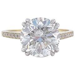 GIA 3.06 Carat Round Brilliant Cut Diamond 18 Karat Gold Engagement Ring