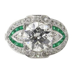 GIA 3.10 Carat Old European Diamond Green Emerald Wedding Platinum Ring