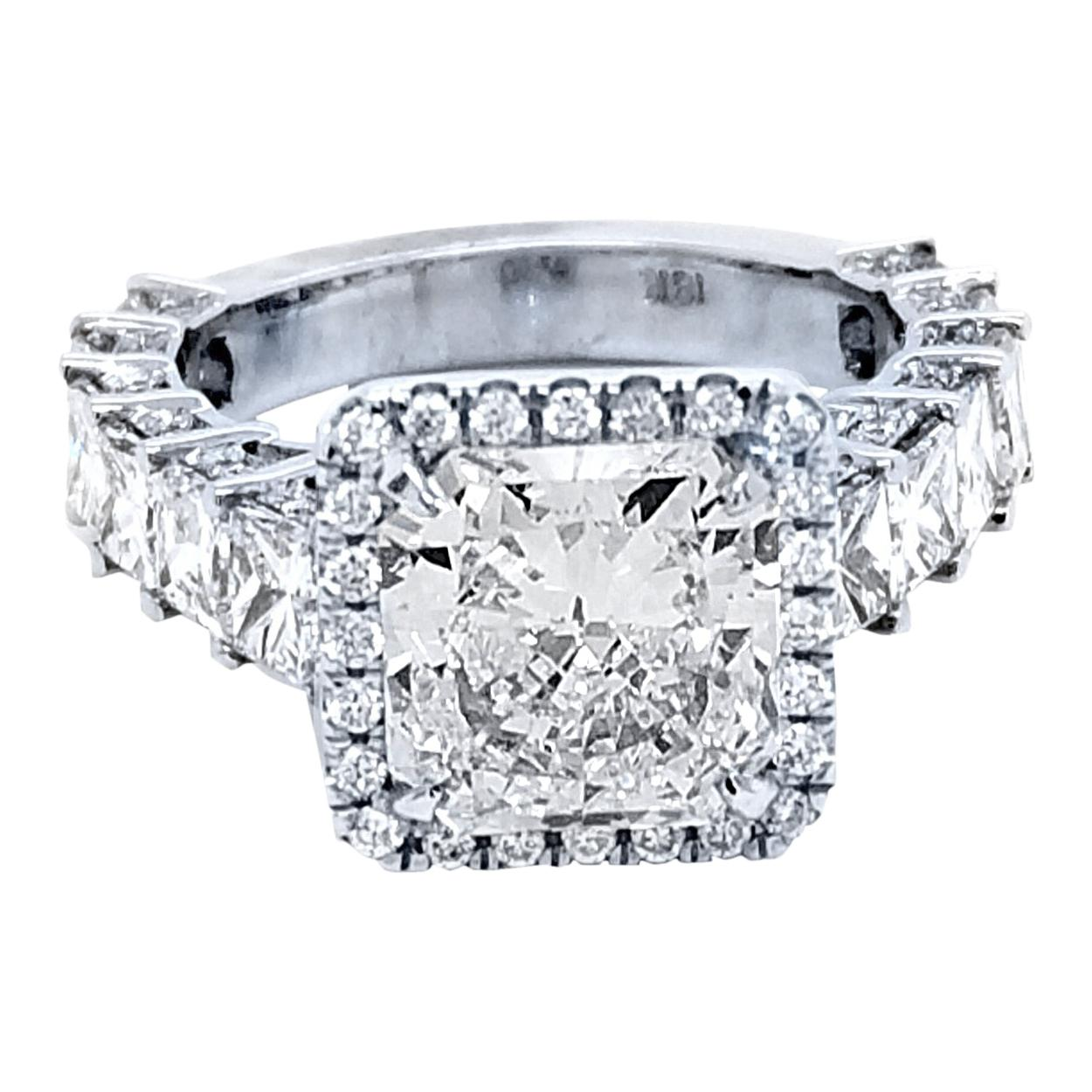 GIA 3.15 Ct E/SI1 Radiant Diamond 18K Pave/Prong Set Engagement Ring with Halo