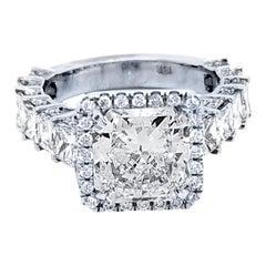 GIA 3.15 Carat E/SI1 Radiant Diamond 18 Karat Pave/Prong Set Ring with Halo