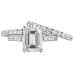 GIA 3.16ct F VS1 Emerald Cut Diamond Ring & Two Eternity Bands 18k White Gold