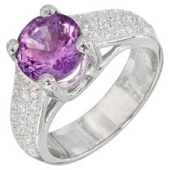 GIA 3.18 Carat Purple Sapphire Diamond Engagement Platinum Ring