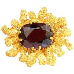 GIA 32.22 Carat Natural Spessartite Garnet 3D Ocean Coral / Rough Nugget Pin