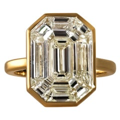 "GIA 3.24ct Emerald Pie-Cut ""Illusion"" Diamond Engagement Wedding Ring"