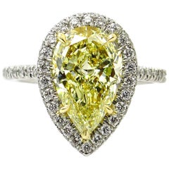 GIA 3.25 Carat Natural Yellow Pear Diamond Solitaire Platinum Yellow Gold Ring