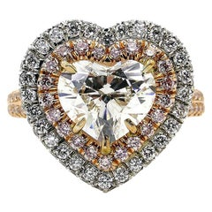 GIA 3.27 Carat Heart Shaped Diamond Halo Estate Vintage White Rose Gold