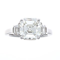 GIA 3.30 Carat Emerald Cut Diamond Platinum Engagement Ring