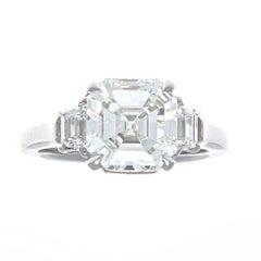GIA 3.30 Carat Emerald Cut Diamond Platinum Engagement Ring