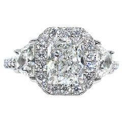 GIA 3.33 Carat Radiant Cut Diamond 3-Stone Platinum Estate Vintage Ring