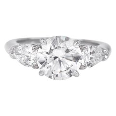 GIA 3.41 Carat Brilliant Diamond Platinum Three-Stone Ring