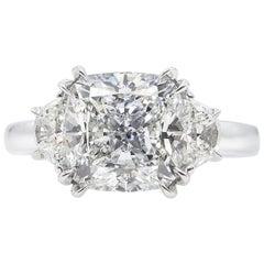 GIA 3.43 Carat Cushion Diamond 3-Stone Engagement Wedding Platinum Ring