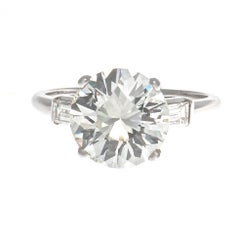 GIA 3.44 Carat Diamond Platinum Engagement Ring