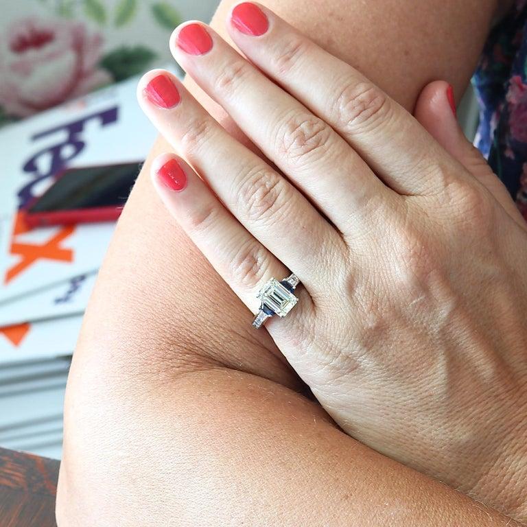 Modern GIA 3.44 Carat Diamond Platinum Ring For Sale