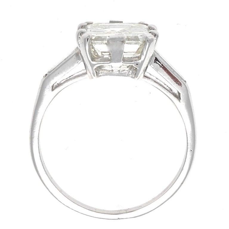 Emerald Cut GIA 3.44 Carat Diamond Platinum Ring For Sale