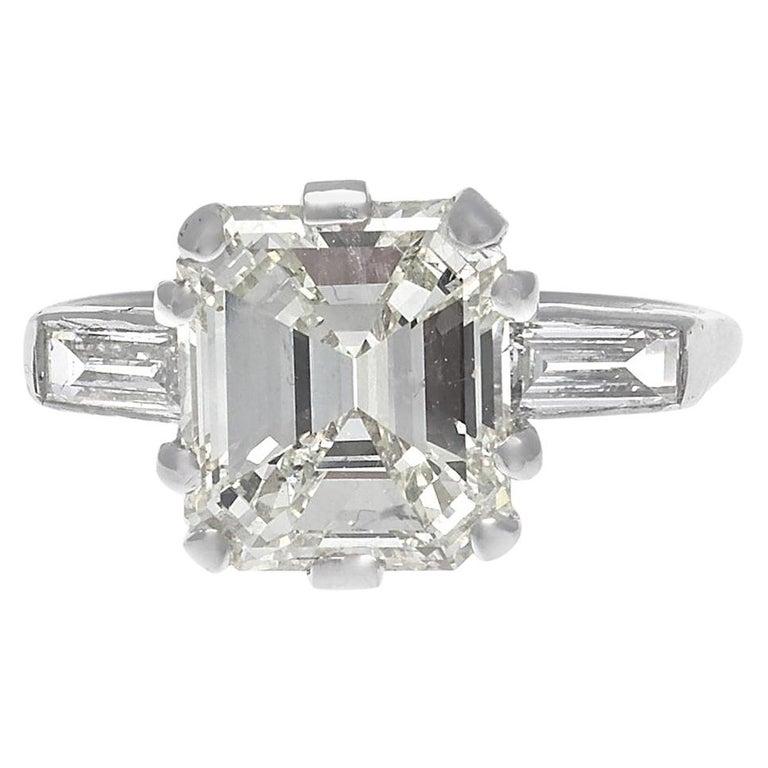 GIA 3.44 Carat Diamond Platinum Ring For Sale