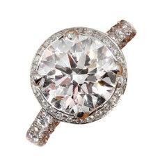 GIA 3.46 Carat Estate Round Brilliant Cut Diamond Solitaire Platinum Ring