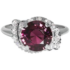 GIA 3.50 Carat Natural No-Heat Purple Spinel and Diamond Platinum Vintage Ring