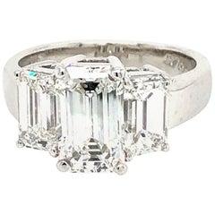GIA 3.51 Carat E Vs1 Emerald Cut 3 Diamonds Ring Platinum