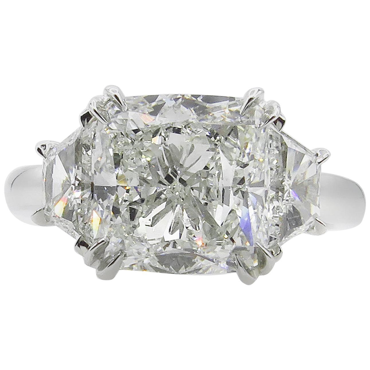 GIA 3.55 Carat Estate Cushion Diamond 3-Stone Engagement Wedding Platinum Ring