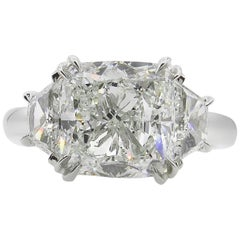 GIA 3.55 Carat Estate Cushion Diamond 3-Stone Engagement Wedding Platinum Ring